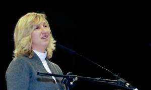 Marija dando su testimonio en Dublin el pasado 21 de febrero