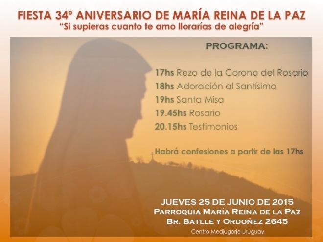 Fiesta 34 Aniversario Parroquia María Reina de la Paz