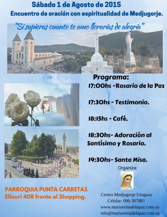 Encuentro con espirtualidad de Medjugorje el sábado 1 de agosto de 2015