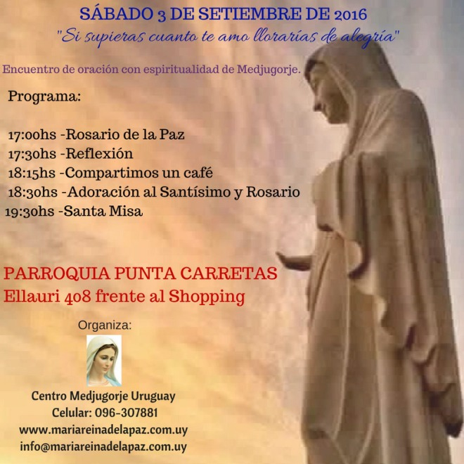 Encuentro co espiritualidad de Medjugorje el sábado 3 de desptiembre de 2016