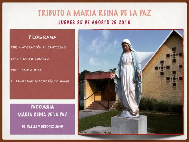 Tributo a Maria Reina de la Paz en Uruguay